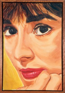 A painting of Audrey Hepburn by Katrina Hase